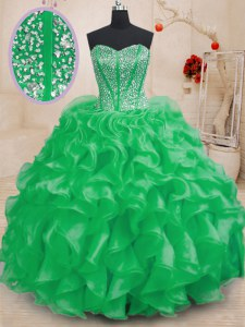 Fabulous Sweetheart Neckline Beading and Ruffles Quinceanera Dresses Sleeveless Lace Up