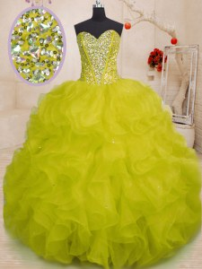 Glittering Yellow Green Vestidos de Quinceanera Military Ball and Sweet 16 and Quinceanera and For with Beading and Ruffles Sweetheart Sleeveless Lace Up