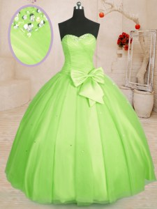 Floor Length Lace Up Sweet 16 Dress Yellow Green for Military Ball and Sweet 16 and Quinceanera with Beading and Bowknot