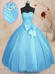 Baby Blue Sweetheart Neckline Beading and Bowknot Vestidos de Quinceanera Sleeveless Lace Up