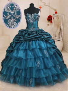 Most Popular Beading and Appliques and Ruffled Layers and Pick Ups Quince Ball Gowns Teal Lace Up Sleeveless With Train Sweep Train