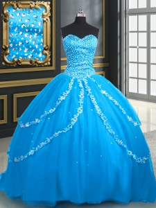 Aqua Blue Ball Gowns Beading and Appliques Sweet 16 Dresses Lace Up Tulle Sleeveless With Train