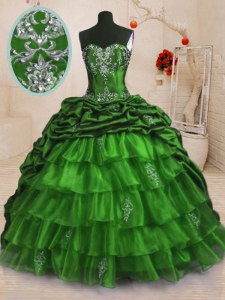 Beading and Appliques and Ruffled Layers and Pick Ups 15 Quinceanera Dress Lace Up Sleeveless With Train Sweep Train