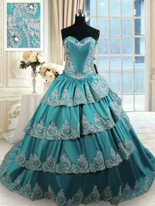Unique Teal Ball Gowns Sweetheart Sleeveless Taffeta With Train Lace Up Beading and Appliques and Ruffled Layers Quinceanera Dress