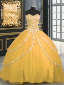 Gold Lace Up Sweetheart Beading and Appliques Vestidos de Quinceanera Tulle Sleeveless Brush Train