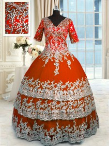 Comfortable Floor Length Orange Red 15th Birthday Dress V-neck Half Sleeves Zipper