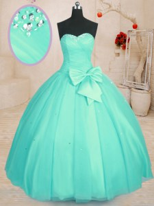 Hot Sale Aqua Blue Sleeveless Floor Length Beading and Bowknot Lace Up Quinceanera Dress