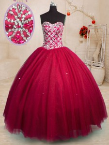 Nice Red Ball Gowns Sweetheart Sleeveless Tulle Floor Length Lace Up Beading 15 Quinceanera Dress