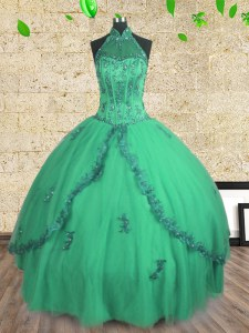 Halter Top Floor Length Ball Gowns Sleeveless Turquoise Ball Gown Prom Dress Lace Up