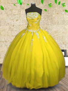 Yellow Sleeveless Appliques and Ruching Floor Length Quinceanera Dresses