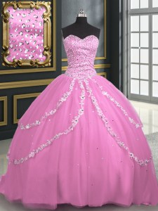 Elegant With Train Rose Pink Ball Gown Prom Dress Tulle Brush Train Sleeveless Beading and Appliques