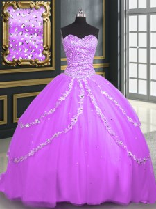With Train Lace Up Quince Ball Gowns Lilac for Military Ball and Sweet 16 and Quinceanera with Beading and Appliques Brush Train