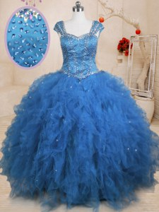 Glittering Teal Cap Sleeves Floor Length Beading and Ruffles and Sequins Lace Up Ball Gown Prom Dress
