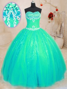 Floor Length Ball Gowns Sleeveless Turquoise Ball Gown Prom Dress Lace Up