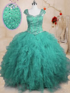 Turquoise Ball Gowns Square Cap Sleeves Tulle Floor Length Lace Up Beading and Ruffles 15th Birthday Dress