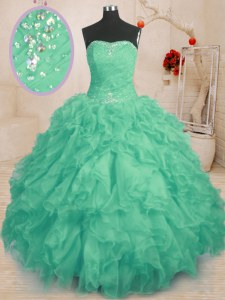 Superior Turquoise Strapless Lace Up Beading and Ruffles and Ruching Ball Gown Prom Dress Sleeveless