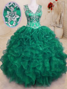 V-neck Sleeveless 15th Birthday Dress Floor Length Beading and Embroidery and Ruffles Dark Green Organza