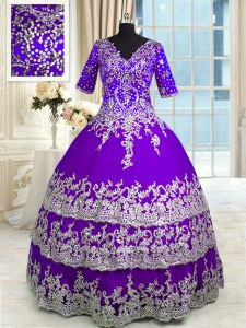 Beauteous Purple Zipper V-neck Beading and Appliques and Ruffled Layers 15 Quinceanera Dress Tulle Half Sleeves