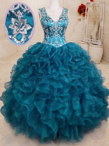 Teal Organza Backless Quinceanera Dress Sleeveless Floor Length Beading and Embroidery and Ruffles