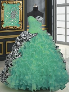 Printed Green Lace Up Quinceanera Gowns Beading and Ruffles and Pattern Sleeveless With Brush Train