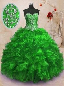 Hot Selling Organza Sleeveless With Train Sweet 16 Dresses Sweep Train and Beading and Ruffles