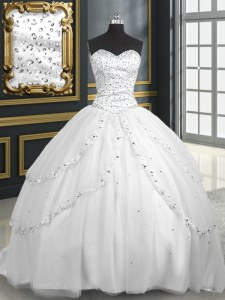 Shining White Sleeveless Tulle Brush Train Lace Up 15 Quinceanera Dress for Military Ball and Sweet 16 and Quinceanera