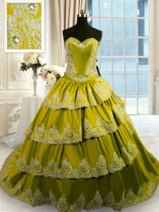 Pretty Olive Green Ball Gowns Taffeta Sweetheart Sleeveless Beading and Appliques and Ruffled Layers With Train Lace Up Sweet 16 Dress Court Train