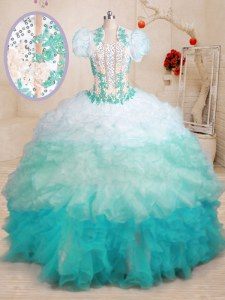 Multi-color Quinceanera Gowns Military Ball and Sweet 16 and Quinceanera and For with Beading and Appliques and Ruffles Sweetheart Sleeveless Brush Train Lace Up