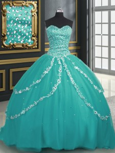 Elegant Turquoise Lace Up Sweetheart Beading and Appliques Ball Gown Prom Dress Tulle Sleeveless Brush Train