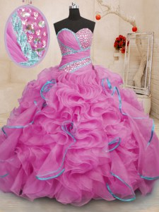 Organza Sweetheart Sleeveless Brush Train Lace Up Beading and Ruffles 15 Quinceanera Dress in Rose Pink