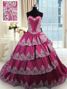 Affordable Fuchsia Sleeveless Court Train Beading and Appliques and Ruffled Layers With Train 15th Birthday Dress