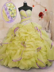 Yellow Sweetheart Lace Up Beading and Ruffles Sweet 16 Quinceanera Dress Brush Train Sleeveless