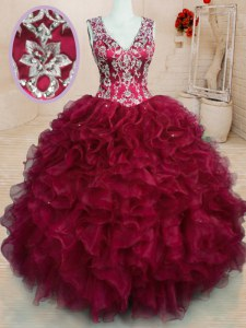Nice Wine Red Ball Gowns V-neck Sleeveless Organza Floor Length Zipper Beading and Embroidery and Ruffles Quinceanera Dresses