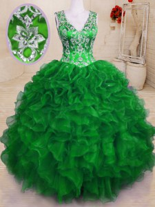 Green V-neck Neckline Beading and Embroidery and Ruffles Quince Ball Gowns Sleeveless Zipper