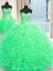 Fashionable Three Piece Apple Green Sleeveless Floor Length Beading and Ruffles Lace Up Quinceanera Dresses