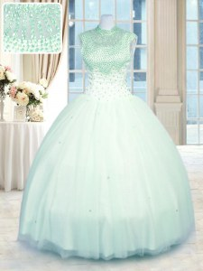Attractive Floor Length Apple Green Quinceanera Gowns High-neck Sleeveless Zipper