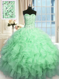 Chic Sequins Sweetheart Sleeveless Lace Up Quinceanera Dresses Apple Green Organza