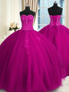 Best Sleeveless Lace Up Floor Length Appliques and Embroidery Sweet 16 Dresses