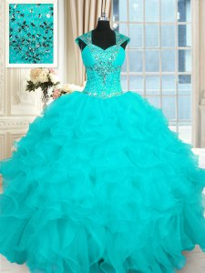 Cap Sleeves Floor Length Beading and Ruffles Lace Up 15 Quinceanera Dress with Aqua Blue