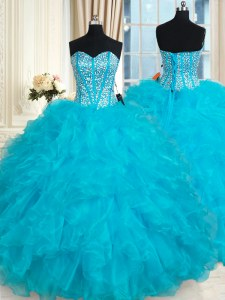 Latest Aqua Blue Organza Lace Up Vestidos de Quinceanera Sleeveless Floor Length Beading and Ruffles