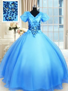 Ideal Floor Length Baby Blue Quinceanera Dress Organza Short Sleeves Appliques