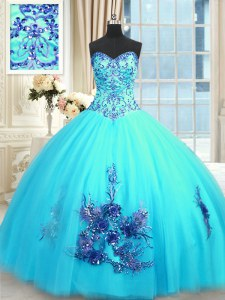 Inexpensive Baby Blue Lace Up Sweet 16 Quinceanera Dress Beading and Appliques and Embroidery Sleeveless Floor Length