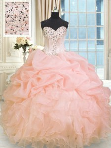 Great Baby Pink Organza Lace Up Sweetheart Sleeveless Floor Length Sweet 16 Dress Beading and Ruffles
