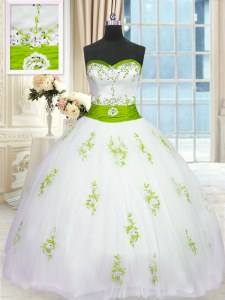 Exquisite Ball Gowns Vestidos de Quinceanera White Sweetheart Tulle Sleeveless Floor Length Lace Up
