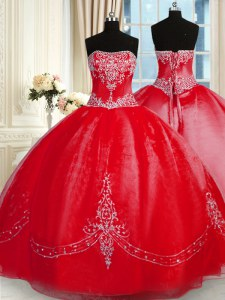 Ball Gowns 15th Birthday Dress Red Strapless Tulle Sleeveless Floor Length Lace Up