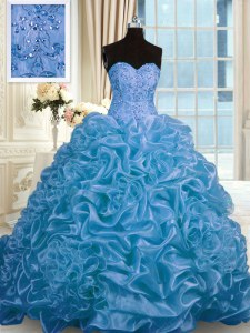 Exceptional Pick Ups Ball Gowns Sleeveless Blue 15th Birthday Dress Sweep Train Lace Up