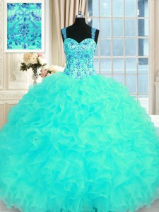 Aqua Blue Sleeveless Floor Length Embroidery and Ruffles Lace Up Sweet 16 Quinceanera Dress