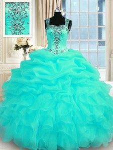 Colorful Turquoise Sweet 16 Quinceanera Dress Military Ball and Sweet 16 and Quinceanera and For with Beading and Ruffles Straps Sleeveless Zipper