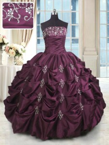 High Class Beading and Appliques and Embroidery and Pick Ups 15th Birthday Dress Burgundy Lace Up Sleeveless Floor Length