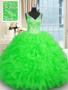 Hot Sale Green Zipper V-neck Beading and Ruffles Quinceanera Dress Organza Sleeveless